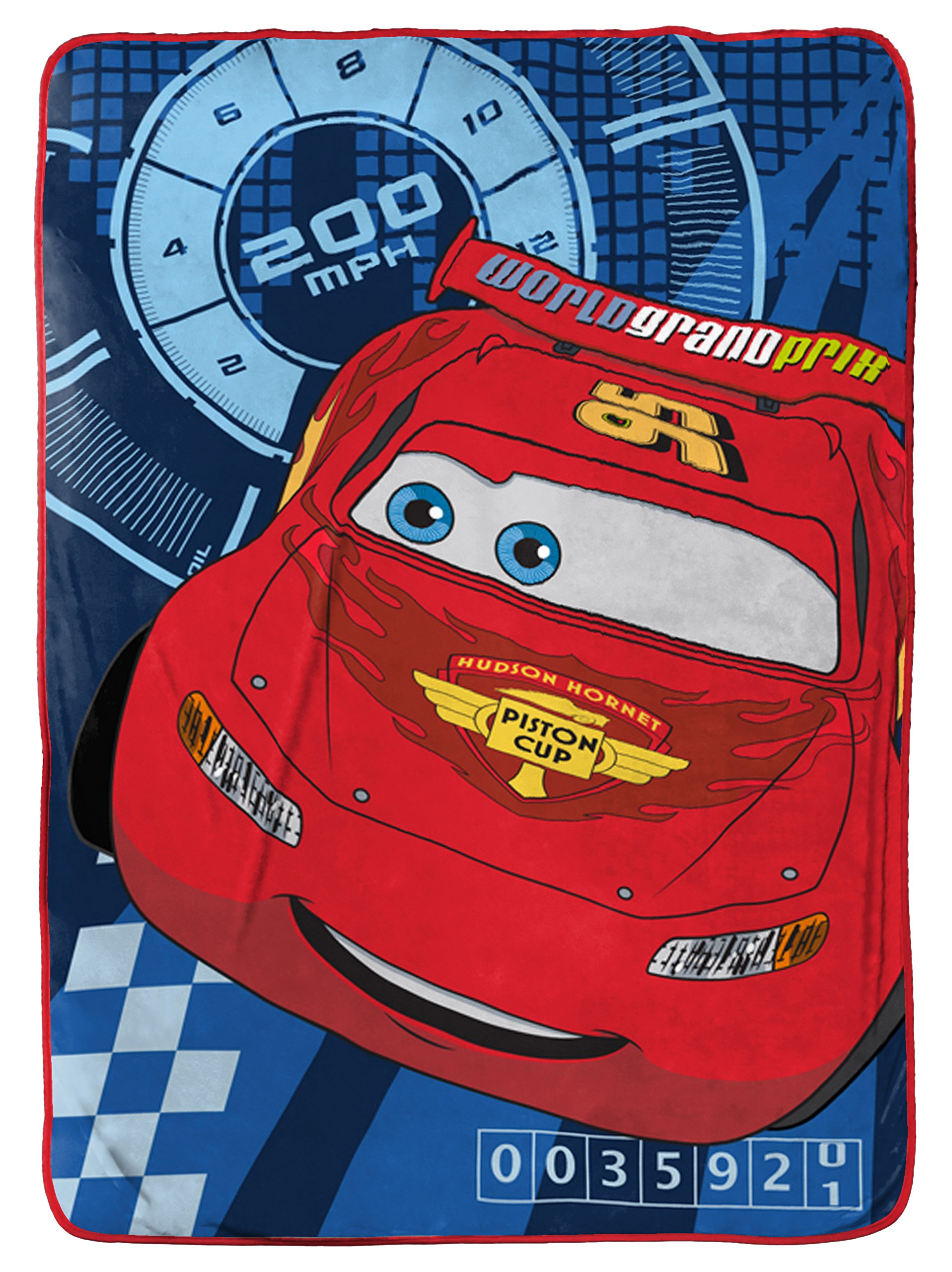 Disney/Pixar Cars City Limits Red/Blue Plush 62'' x 90'' Twin Blanket with Lightning McQueen (Official Disney/Pixar Product)