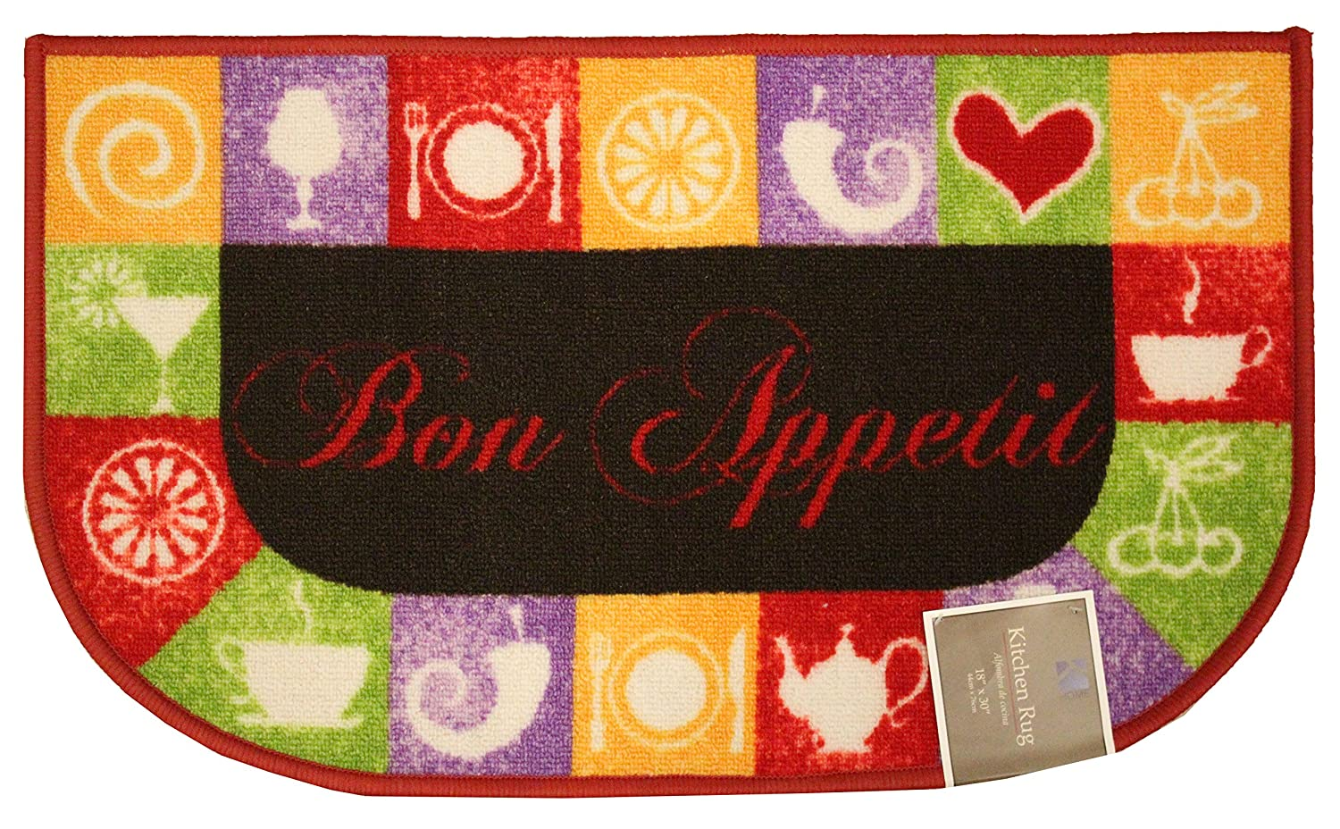 Kashi Home RS045828 Chef Series Kitchen Rug Mat with Latex Back 20x40 Rectangle