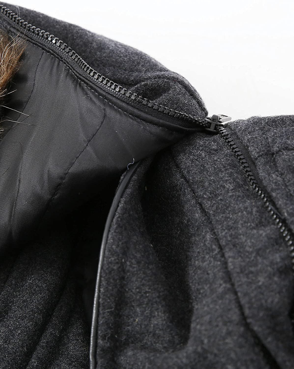 Mens Meyer Wool-Blend Double Breasted Hooded Coat Detachable Fur Stand-Up Collar