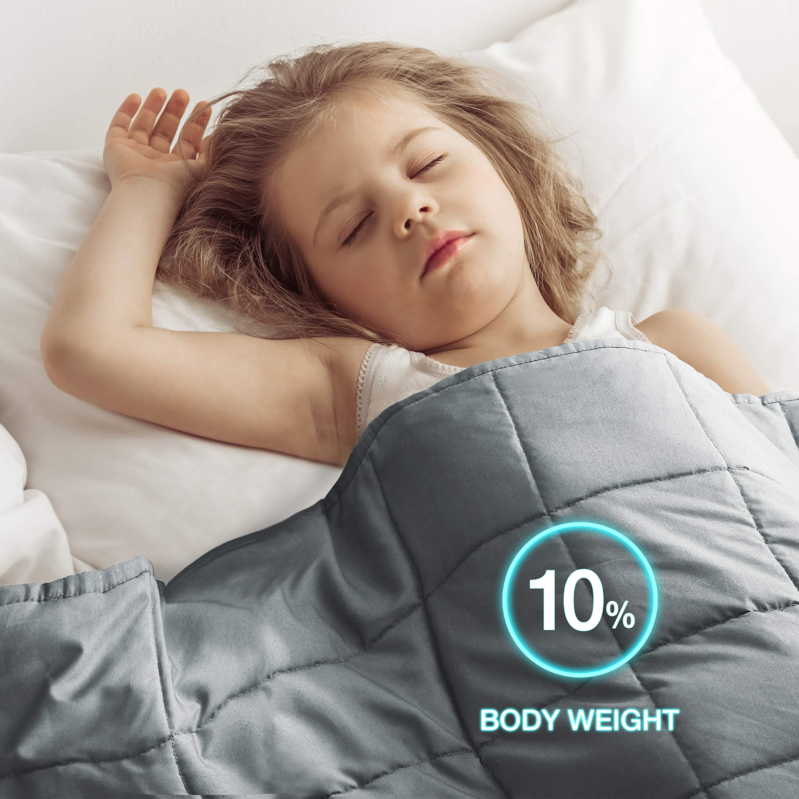 EXQ Home Weighted Blanket 7 lbs for Kids Heavy Blanket Grey Super Soft Thick Blanket with Premium Glass Beads, Organic Cotton