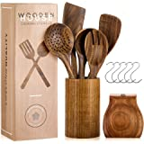 Wooden Utensils for Cooking Set with Holder, Natural Nonstick Teak Wood Spoons Spatula and Spoon Rest, Cookware for Kitchen,
