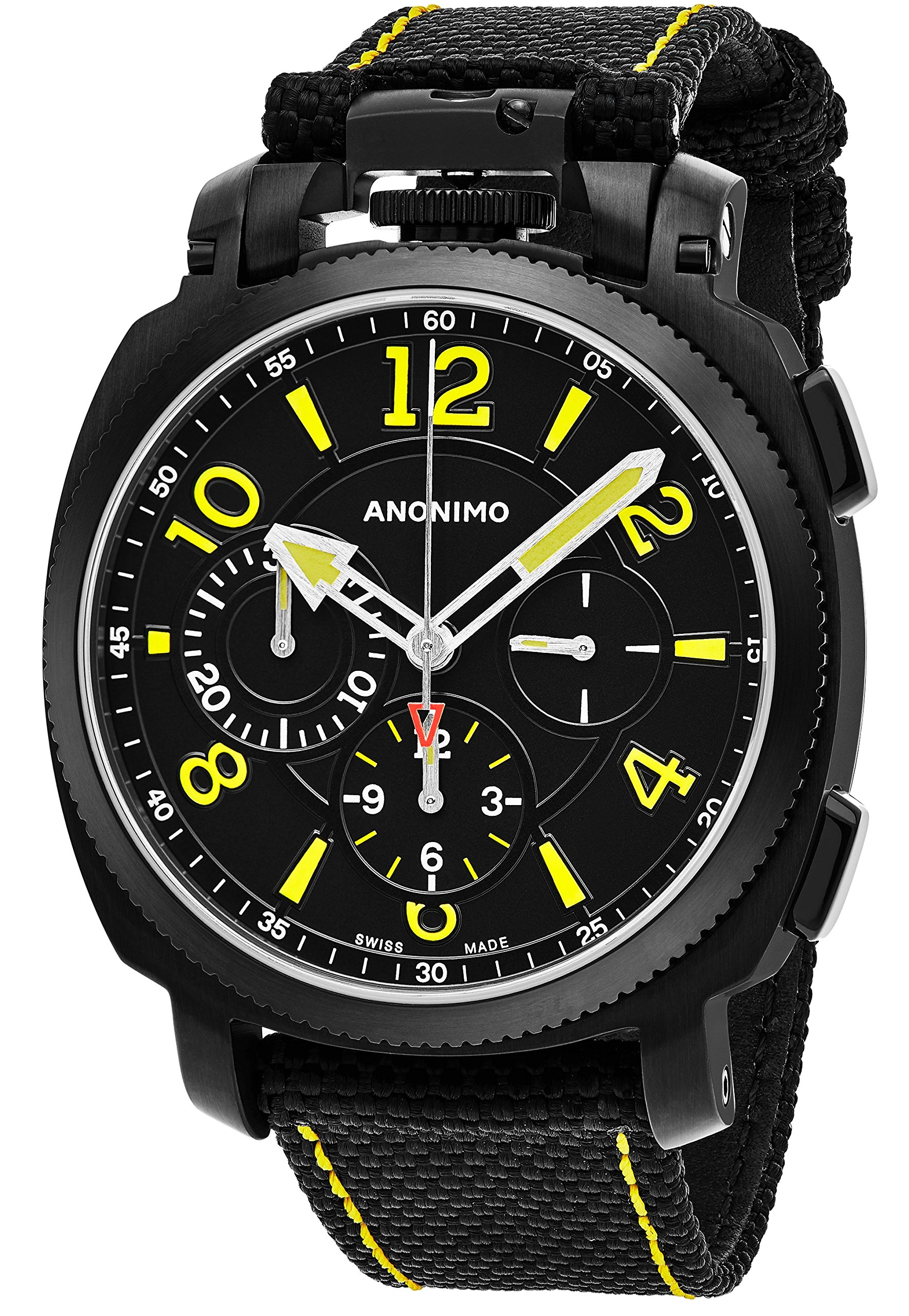 Anonimo Mens Military 43 MM Black Face Black Canvas/Leather Strap Chronograph Swiss Mechanical Watch AM110002004A01 by Anonimo