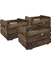 Decowood Set de Cajas de Fruta, Madera - 3 Unidades