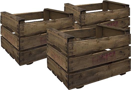 Decowood Pack 6 Cajas en Madera Antigua, Acabado Envejecido ...