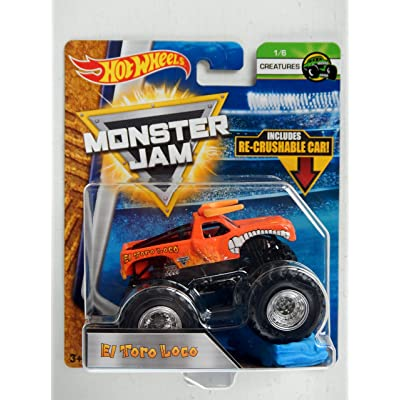 HOT WHEELS MONSTER JAM 1:64 SCALE ORANGE EL TORO LOCO CREATURES INCLUDES RE-CRUSHABLE CAR: Toys & Games
