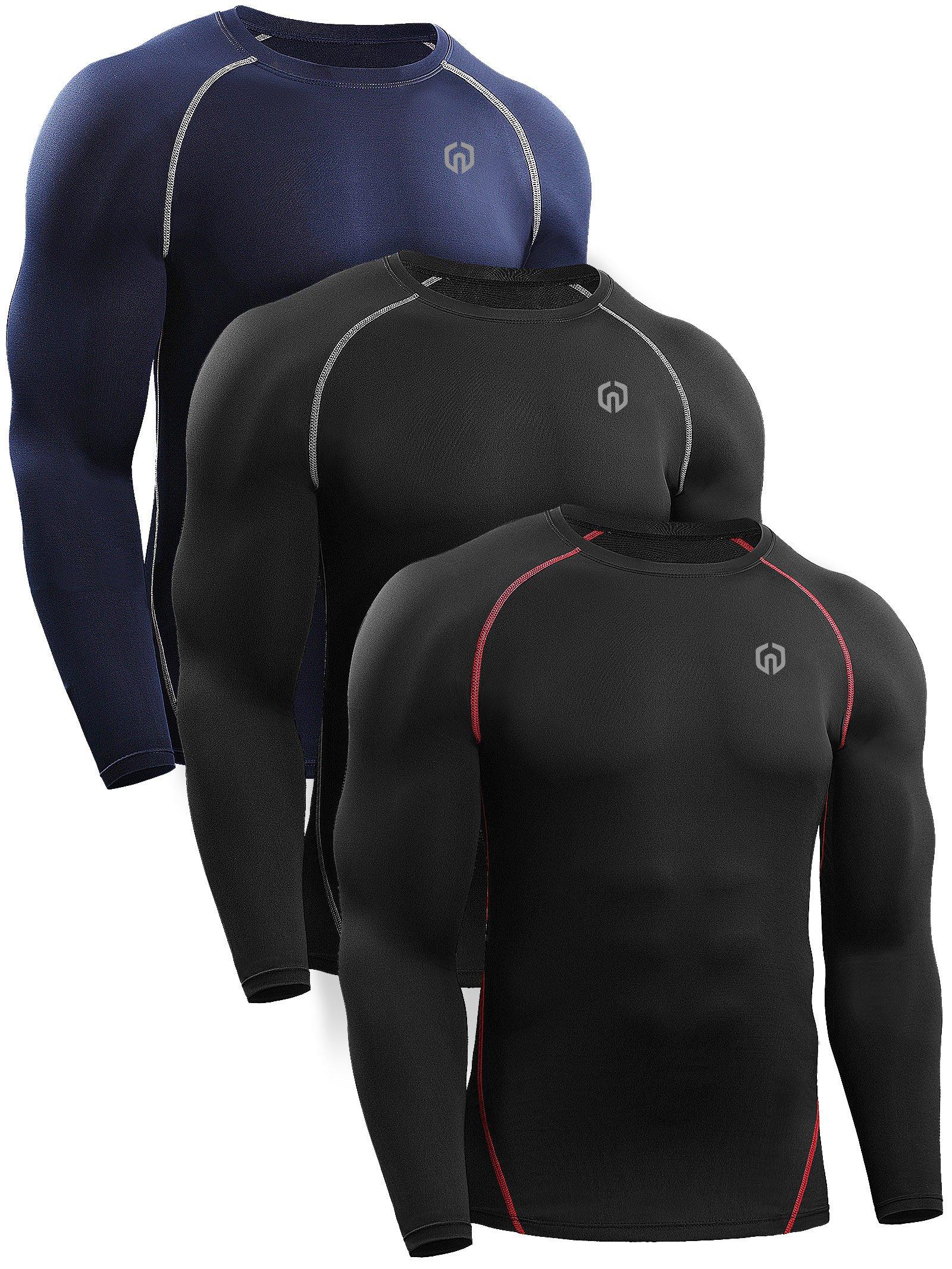 Neleus Men's 3 Pack Workout Compression Long Sleeve Shirts,5035,Black(Red),Black(Grey),Navy Blue,US S,EU M