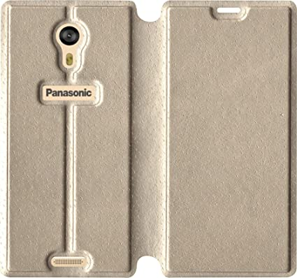 the best attitude 1aac3 0d8c6 SBMS Rexin Flip Cover for Panasonic Eluga A3/Pro (Gold)