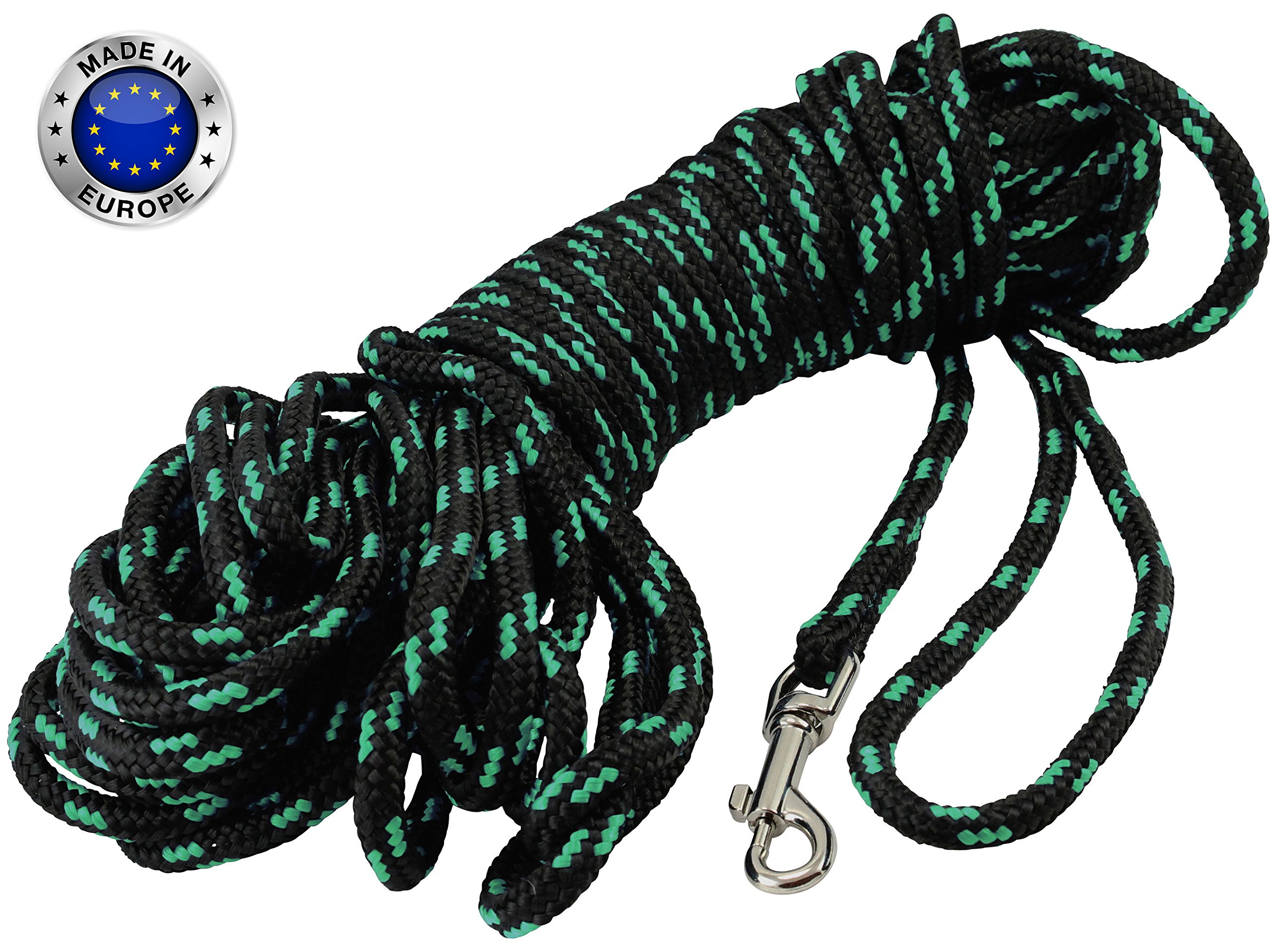 Braided Nylon Rope Tracking Dog Leash, Black with Green 15-Feet/30-Feet/45-Feet/60-Feet Training Lead for Small and Medium Dogs (45ft, Medium - Diam 3/8'' (8mm))