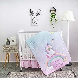 La Premura Unicorn Baby Nursery Mini/Portable Crib Bedding Set for Girls – Baby Unicorn & Rainbows 3 Piece Crib Sets in Pink, Yellow & Green