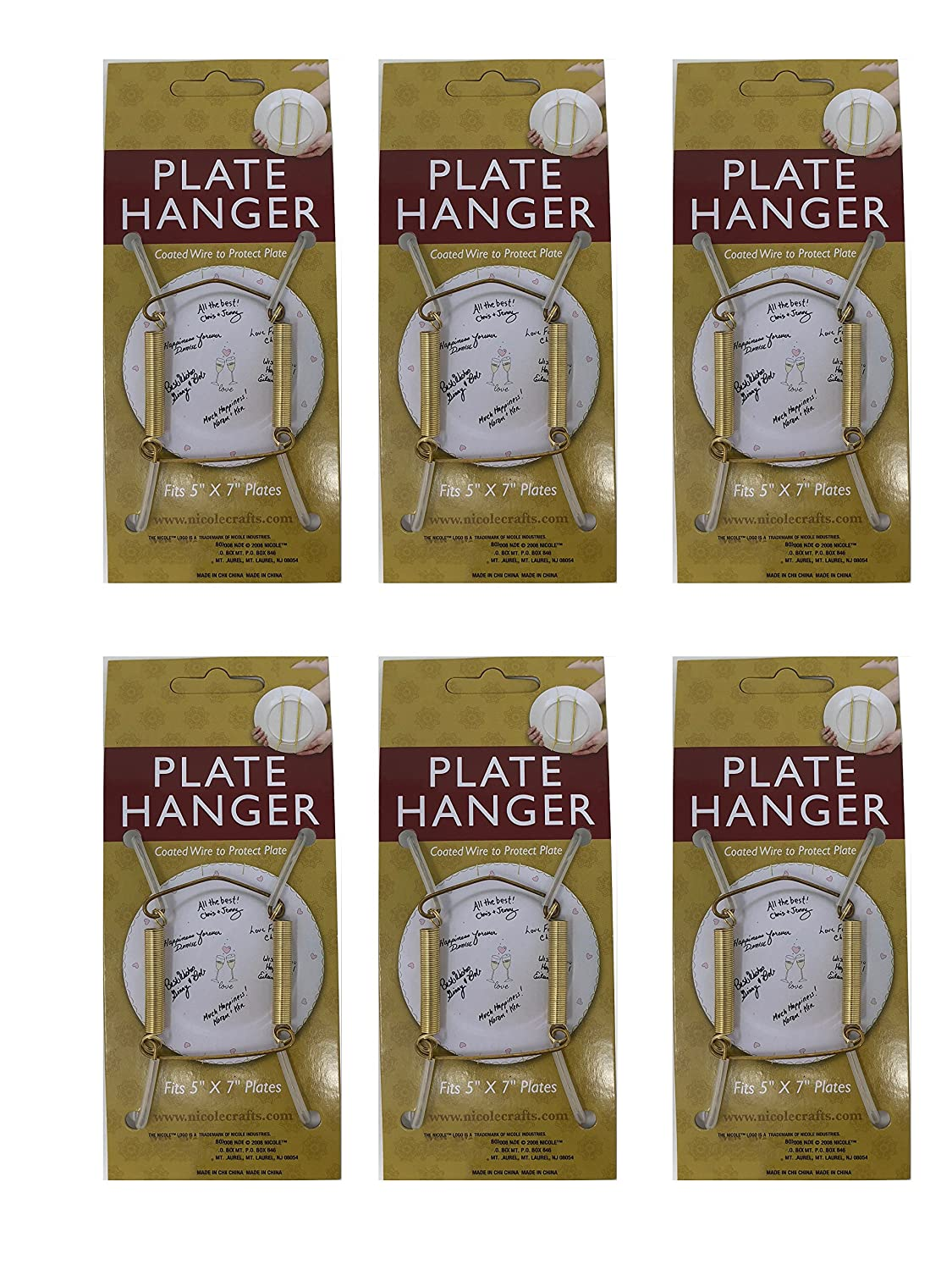 Plate Display Hanger Decorative, Expandable Spring Holds 5 to 7 Inch Plates- Gold Wire Spring Type, Pack of 6 Hangers