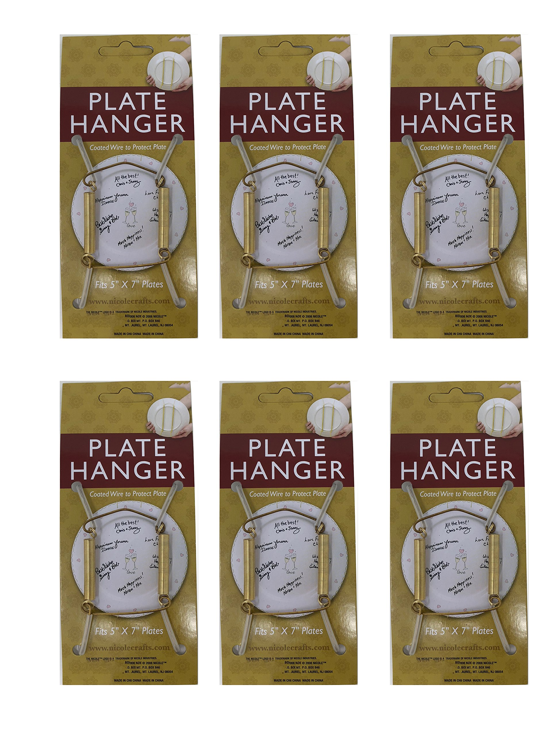 Plate Display Hanger Decorative, Expandable Spring Holds 5 to 7 Inch Plates- Gold Wire Spring Type, Pack of 6 Hangers by Klingy