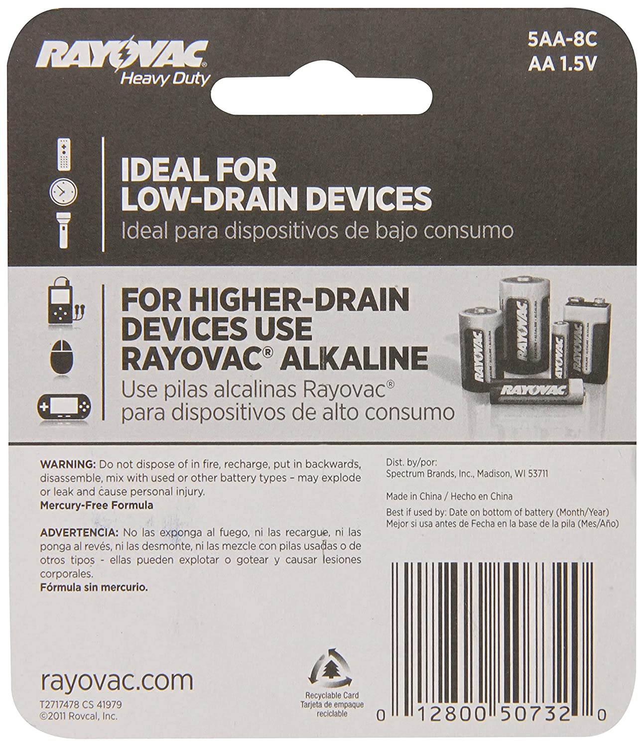 Amazon.com: Rayovac Rayovac Heavy Duty Batteries, AA Size,8 Pack: Health & Personal Care