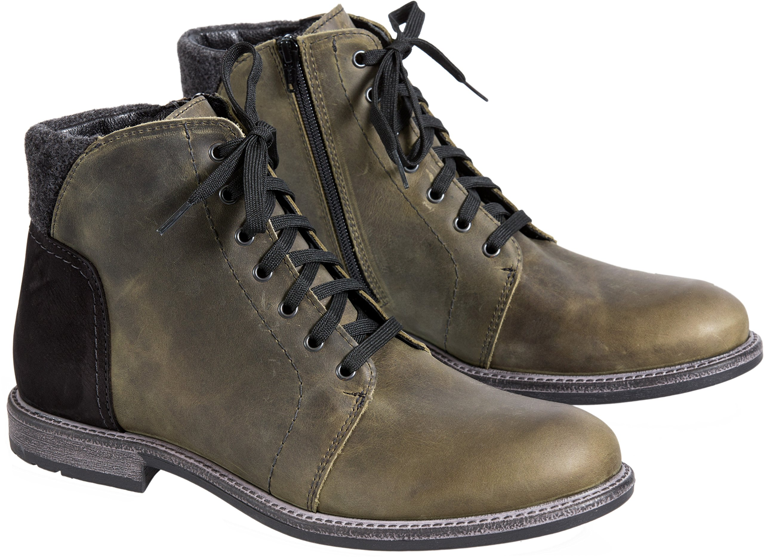 Overland Sheepskin Co. Men's Clement Wool-Lined Waterproof Italian Leather Boots, Oil Olive Nubuck, Size EU43