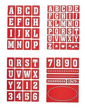 Kitchen Craft Home Made - Plantillas de Números y Letras para Pintura de Vidrio (4 Unidades): Amazon.es: Hogar