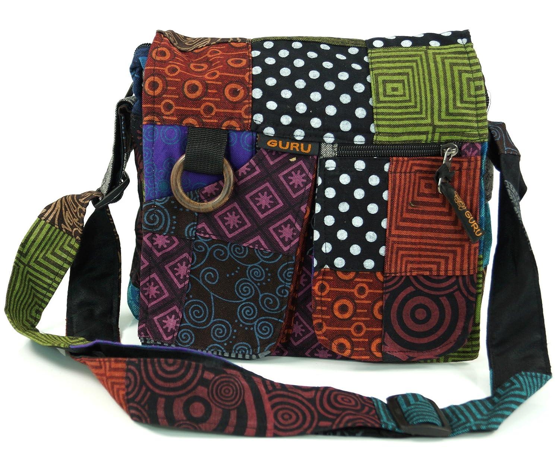 Guru Shop Ethno Schultertasche Patchworktasche, HerrenDamen, Mehrfarbig, Baumwolle, Size:One Size, 25x25x6 cm, Alternative Umhängetasche, Handtasche