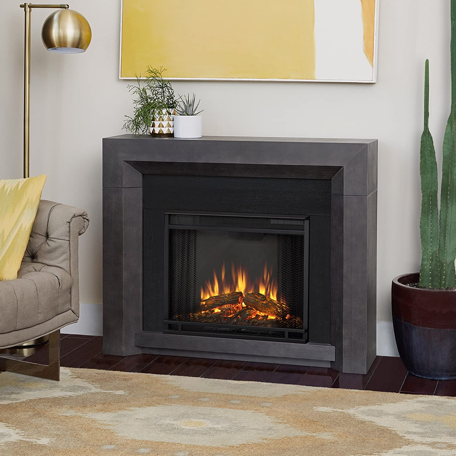 amazon com real flame 3001e gry hughes electric fireplace in gray rh amazon com