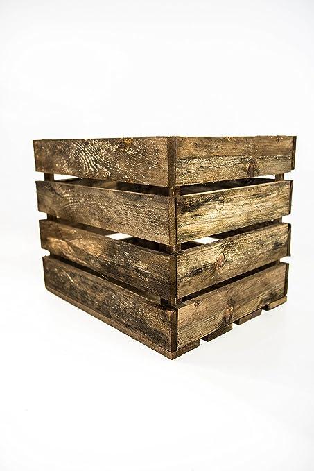Caja Grande Almacenamiento Envejecida Sam, Madera, Envejecido, Marrón, 50x40x30cm. Incluye Imán Personalizable de Regalo.: Amazon.es: Hogar
