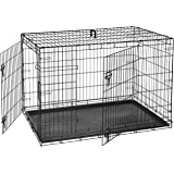 AmazonBasics Double Door Folding Metal Dog Cage with Paw Protector, 48 inches