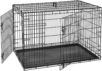 703affb97b828e AmazonBasics Cage pliante en métal avec 2 portes pour chien Taille ...