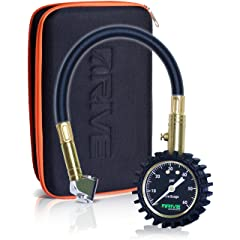 DRIVE Tire Pressure Gauge & Case (60 PSI) - Best for Reading Accurate Car or Truck Tires Portable Air Monitoring Tool is Rugged Heavy Duty Dual Chuck and Top Garage or Shop Gift Kit