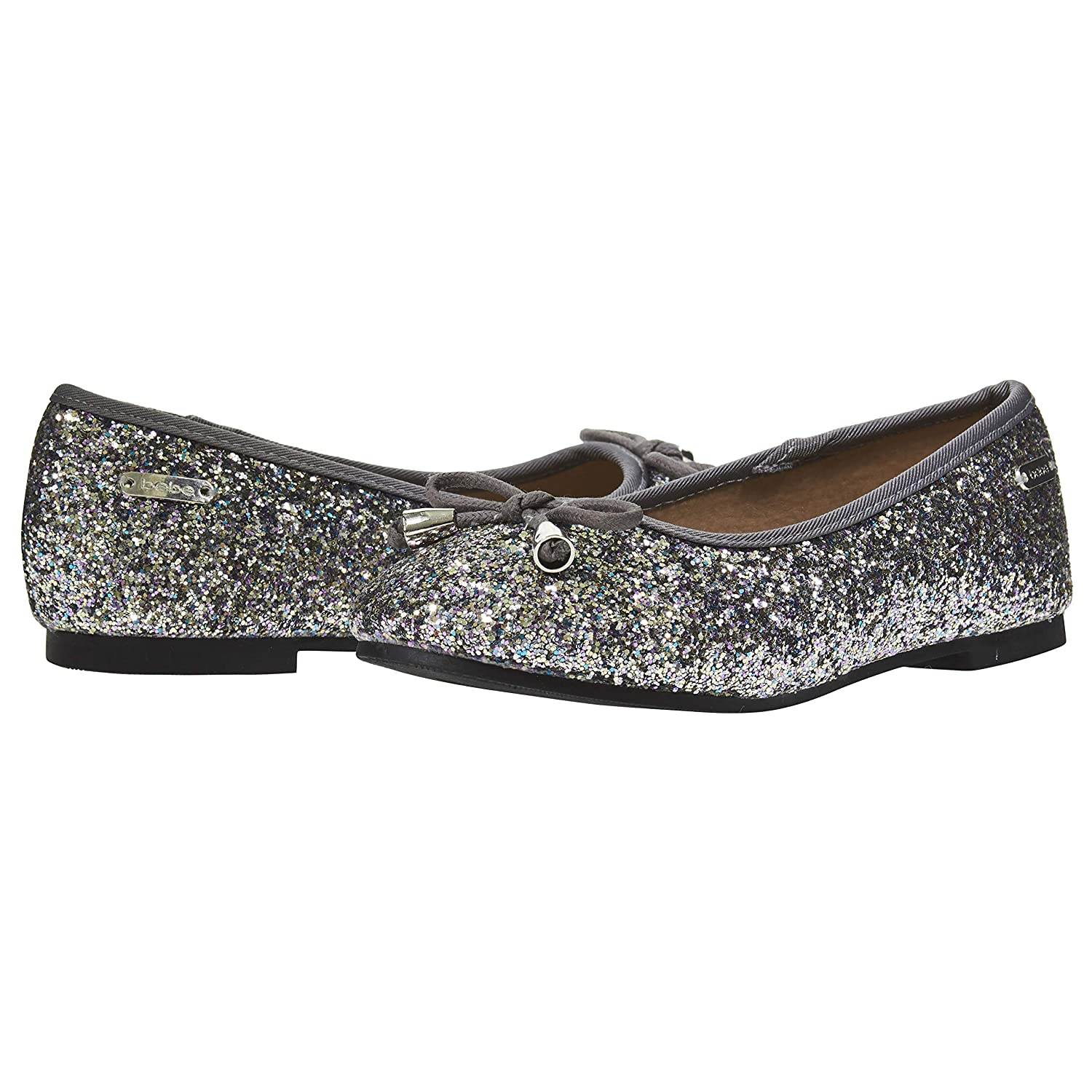 bebe Girls Flats Round Toe Chunky Glitter with Bow and Metallic Logo Hardware Slip-On Shoes Flexible PU Leather