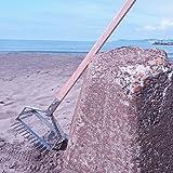 ステンレス プロ仕様 貝取り(貝採り)ジョレン 着脱式 潮干狩り用 頭(205×340)x柄1800mm