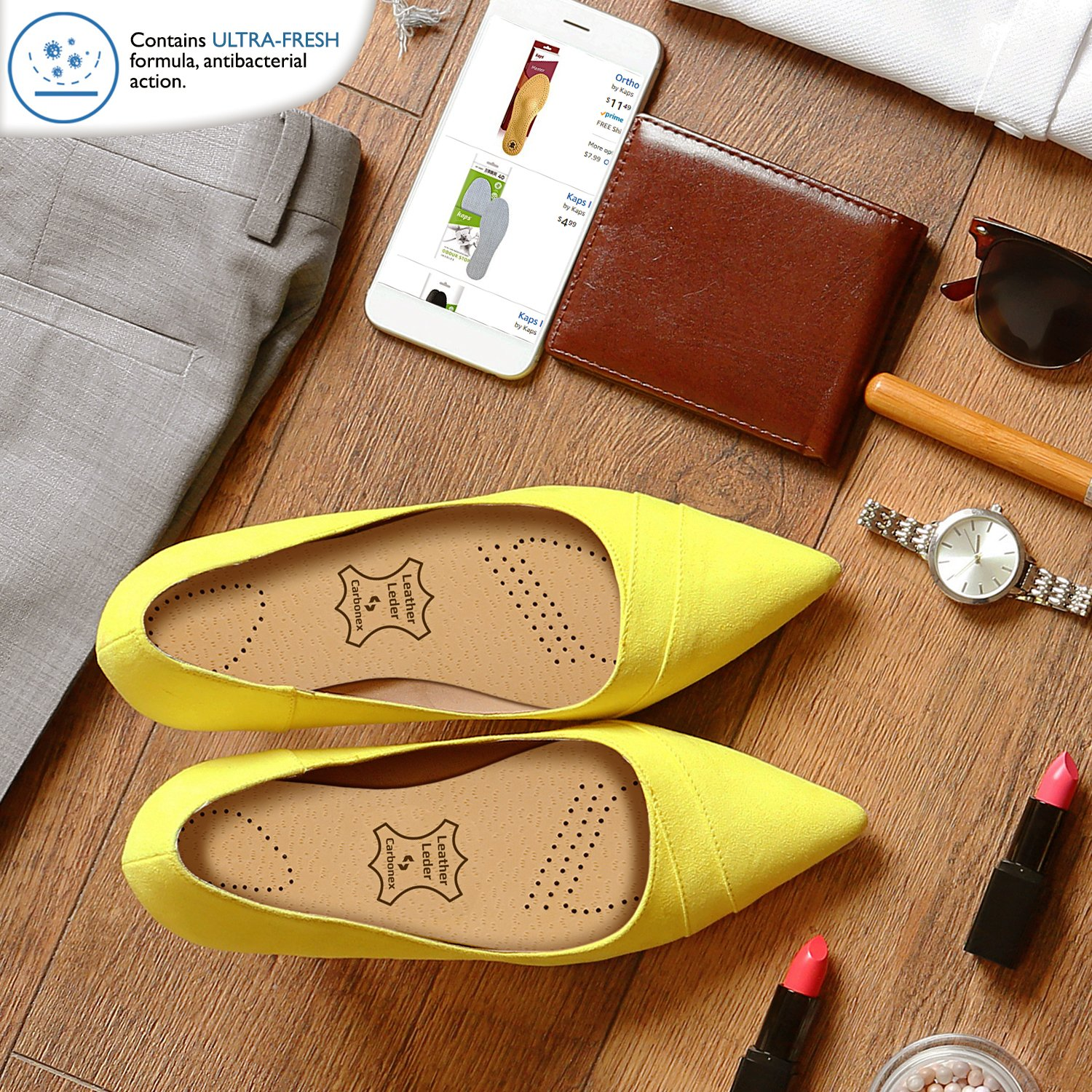 Luxury Leather Shoe Insoles Inserts with Anti-Bacterial Pecari Carbonex /& Ultra-Fresh Odor Control Kaps Insoles for Men /& Women
