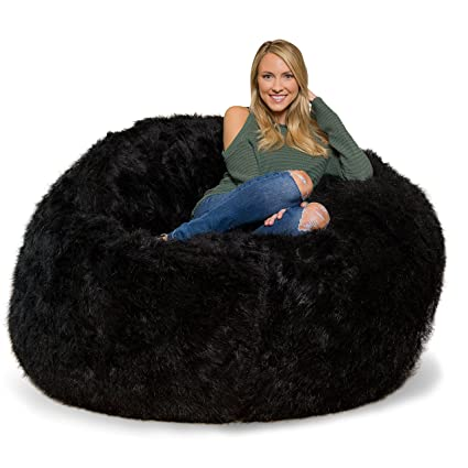 Image Unavailable. Image not available for. Color  Comfy Sacks 6 ft Memory  Foam Bean Bag Chair, Black Furry 9ef993a299