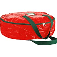 "Zober Wreath Storage Bag 30"" - Tear Resistant Material Storage Bag for Wreath Storage With Sleek Zipper, Featuring Transparent Card Slot 30""L 30""W 8""H (Red)"