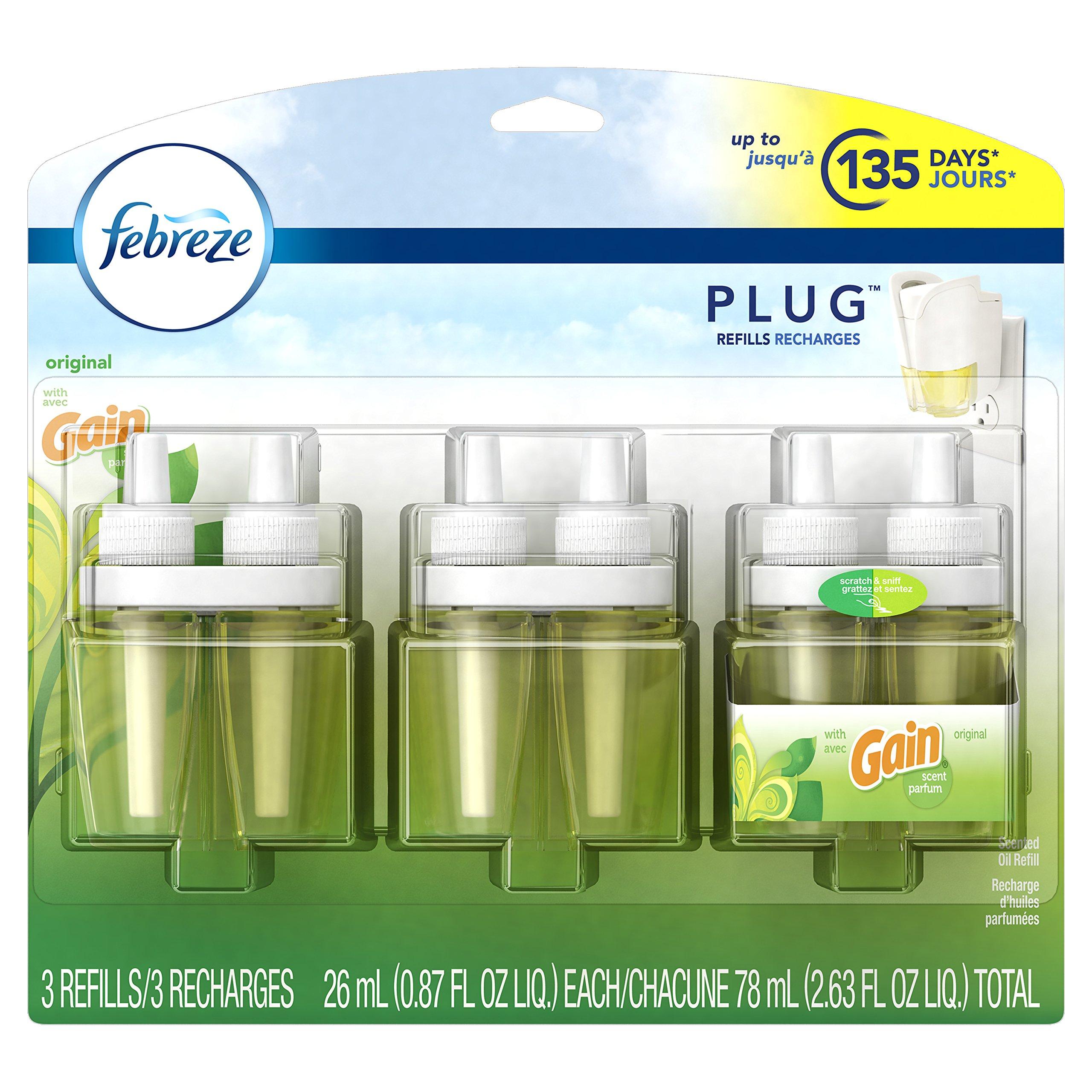Febreze PLUG Air Freshener Refills with Gain Original (3 Count, 2.63 oz)