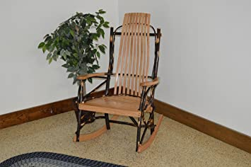Natural Hickory Log Rocking Chair with Upholstered Seat /& Back