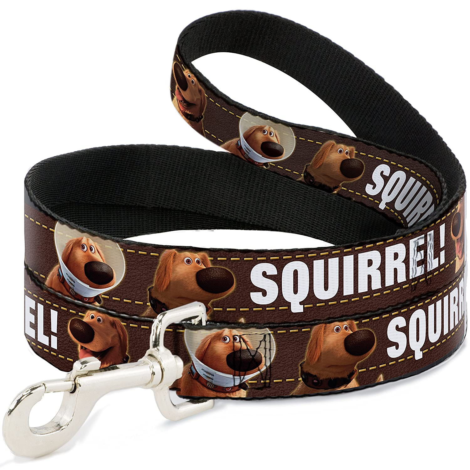 Buckle-Down Pet Leash Dug 3-Poses Squirrel  Brown Yellow White 6 Feet Long 1  Wide