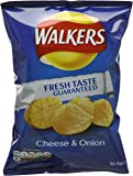 Walkers Cheese and Onion Flavour Potato Crisps 32.5 g (Pack of 32)
