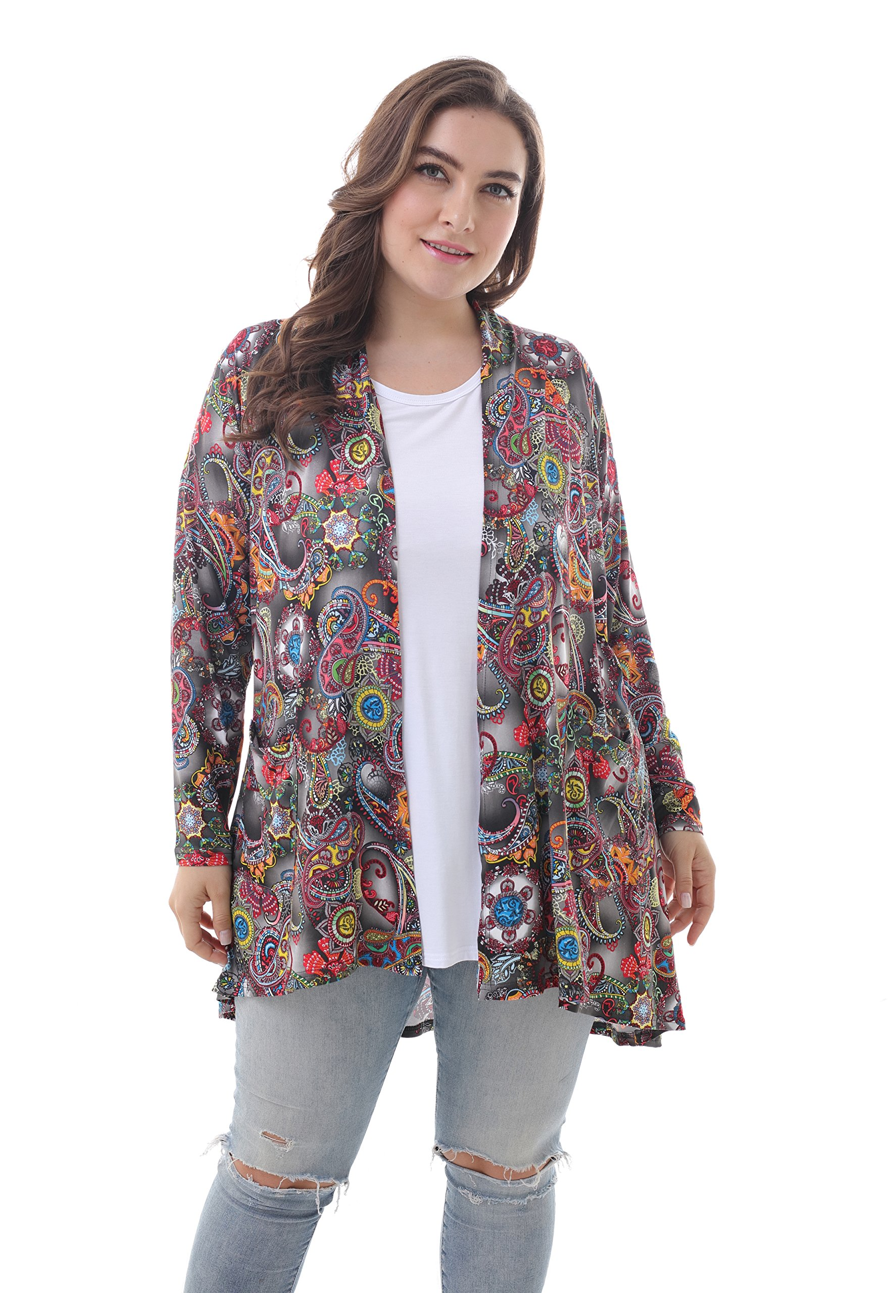 ZERDOCEAN Women's Plus Size Long Sleeve Lightweight Soft Printed Drape Cardigan with Pockets 102 2X