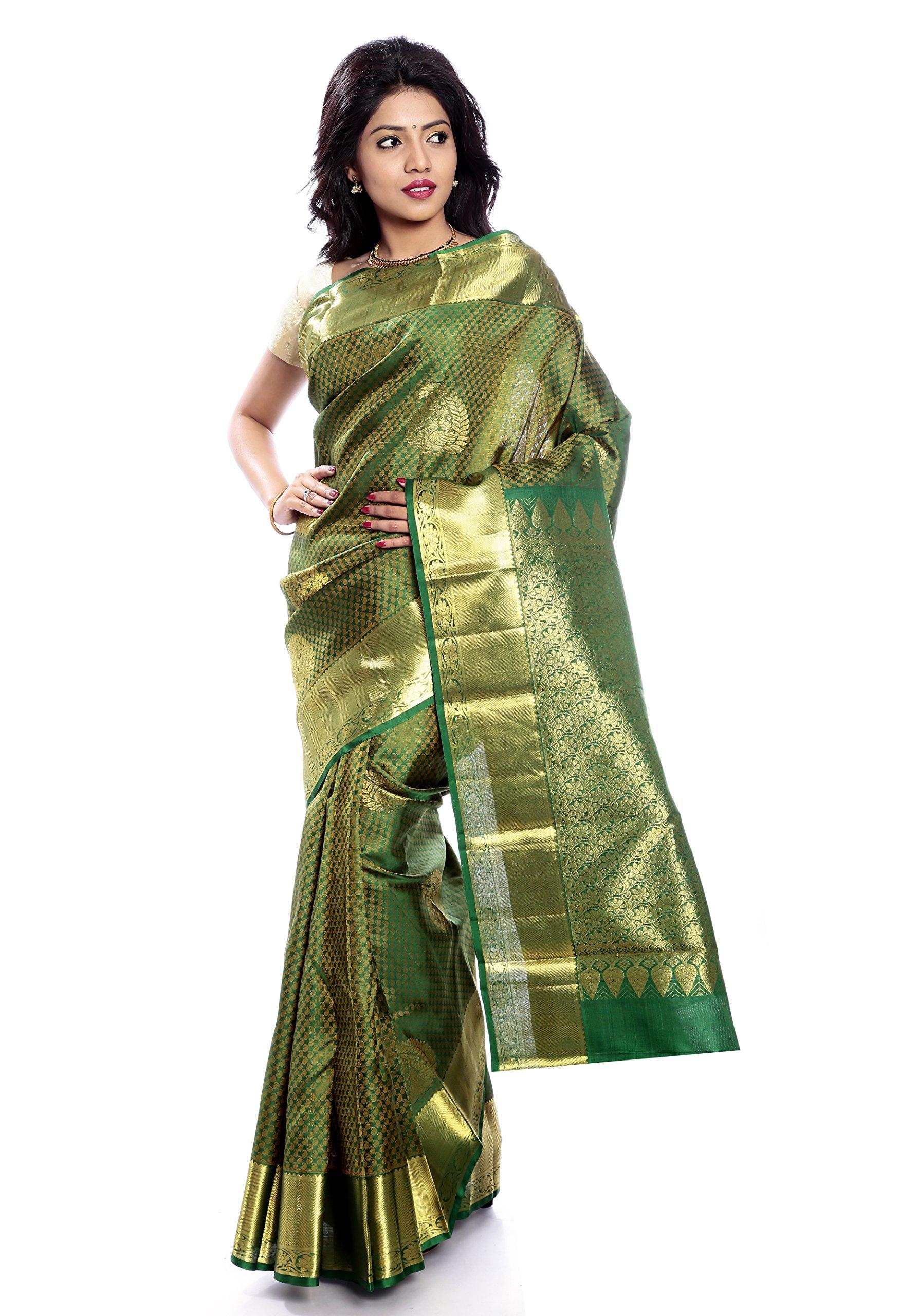 Mandakini — Indian Women's Kanchipuram - Handloom - Pure Silk Saree (Dark green ) (MK219)