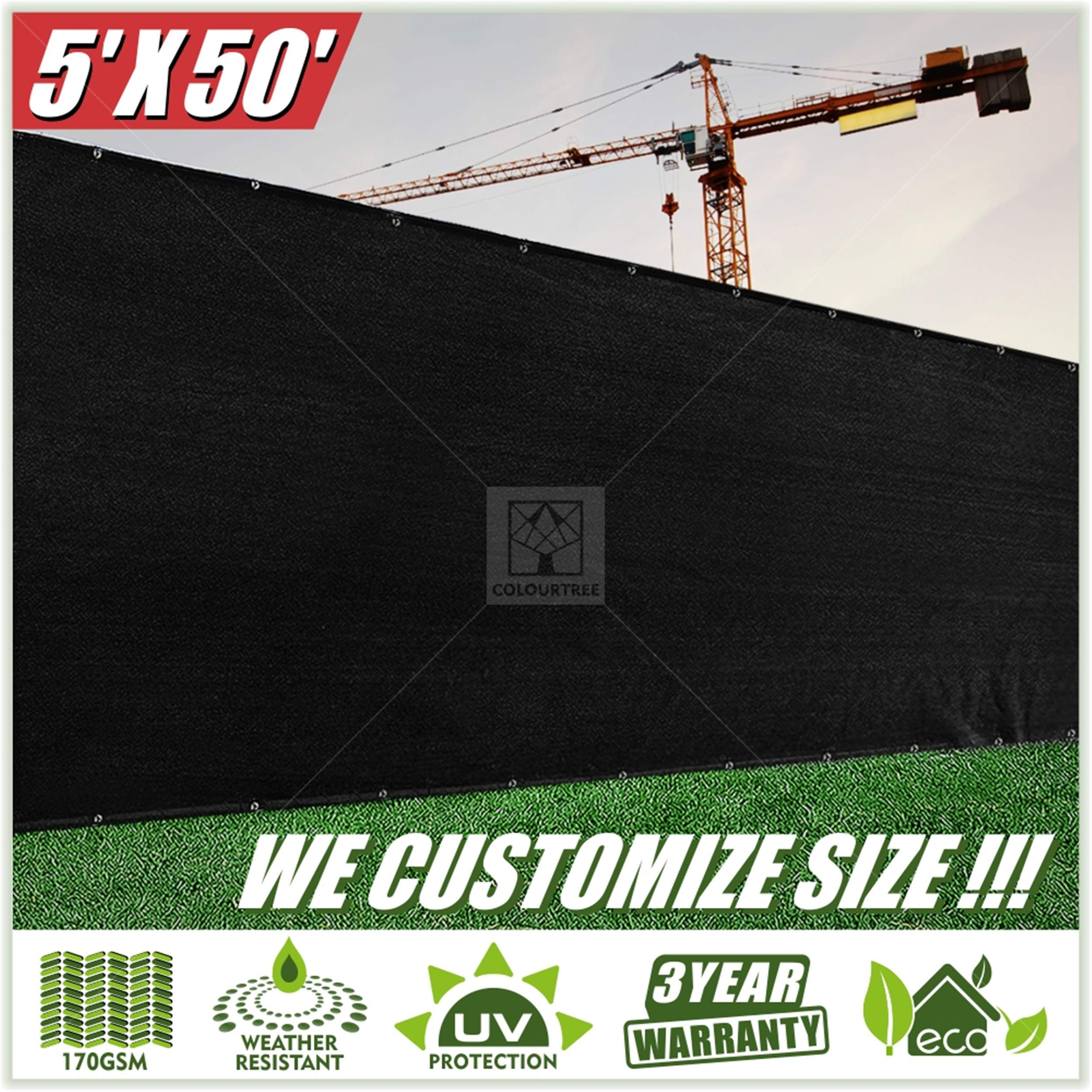 ColourTree 5' x 50' Black Fence Privacy Screen Windscreen, Commercial Grade 170 GSM Heavy Duty, We Make Custom Size by ColourTree