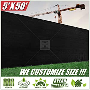 ColourTree 5' x 50' Black Fence Privacy Screen Windscreen, Commercial Grade 170 GSM Heavy Duty, We Make Custom Size