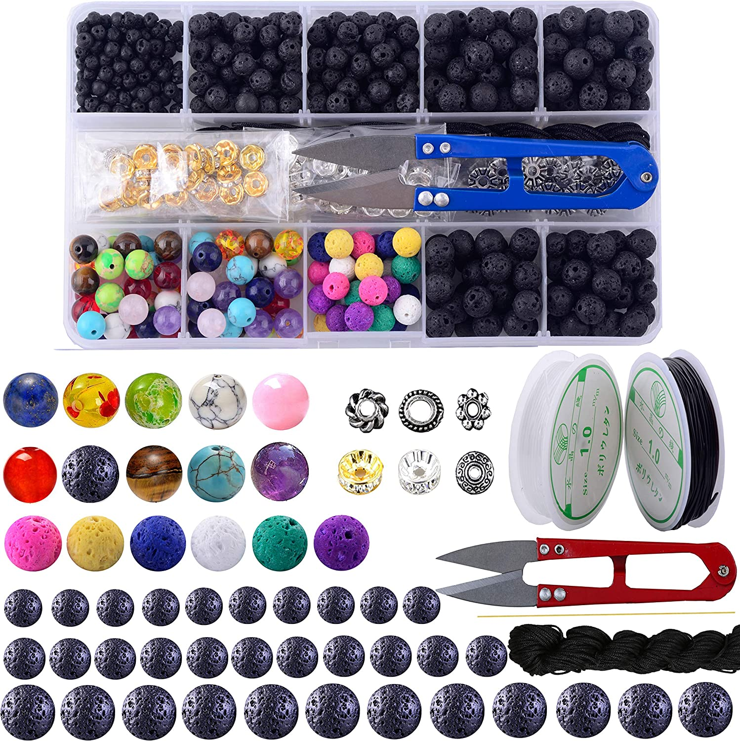 BESWORLDS Lava Stone Rock Bead Kit Colorful Natural Chakra Beads and Black Lava Rock Stone Essential Oil Diffuser Bead for Jewelry Making