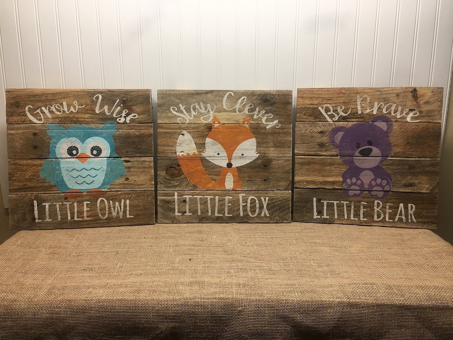 Woodland Animal Baby Nursery Set of 3 Reclaimed wood Pallet Sign Home Decor 14''x14''
