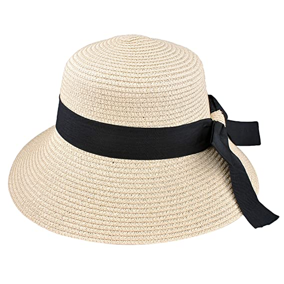 bd6d502eb9c EINSKEY Womens Straw Sun Hat Bowknot Wide Brim Bucket Hat with Neck Cord  for Summer Beach Fishing (Natural Beige) at Amazon Women s Clothing store