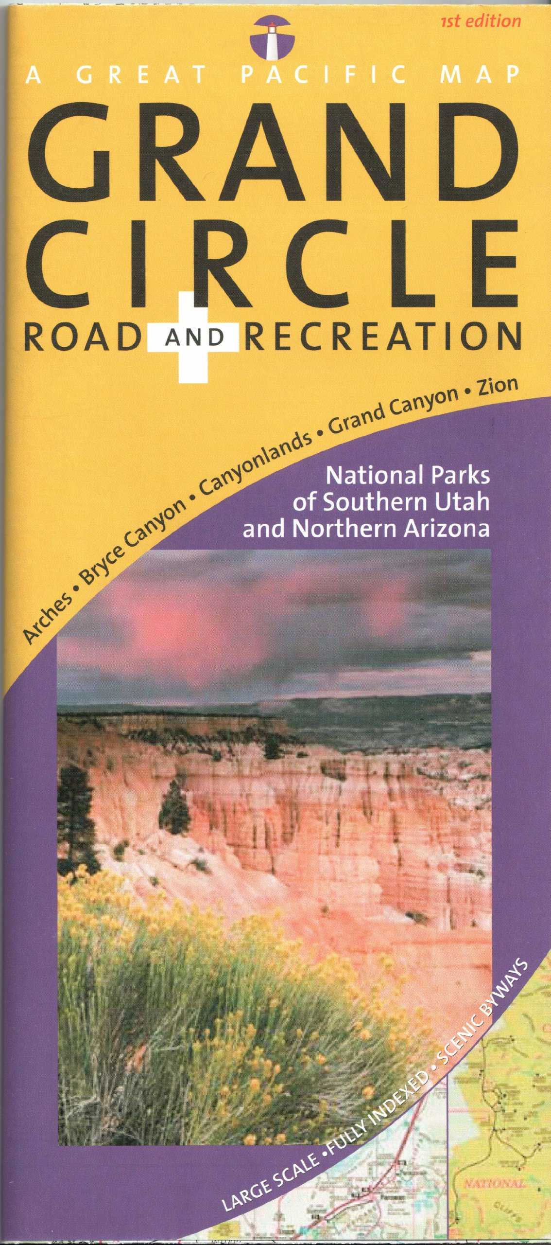 Map Of Arizona Utah.Utah S Grand Circle Road Recreation Map National Parks Of