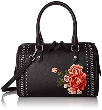 5e7d97a49acd Amazon.com  Calvin Klein womens Calvin Klein Saffiano Leather Woven Chain  and Embroidered Flower Top Zip Satchel