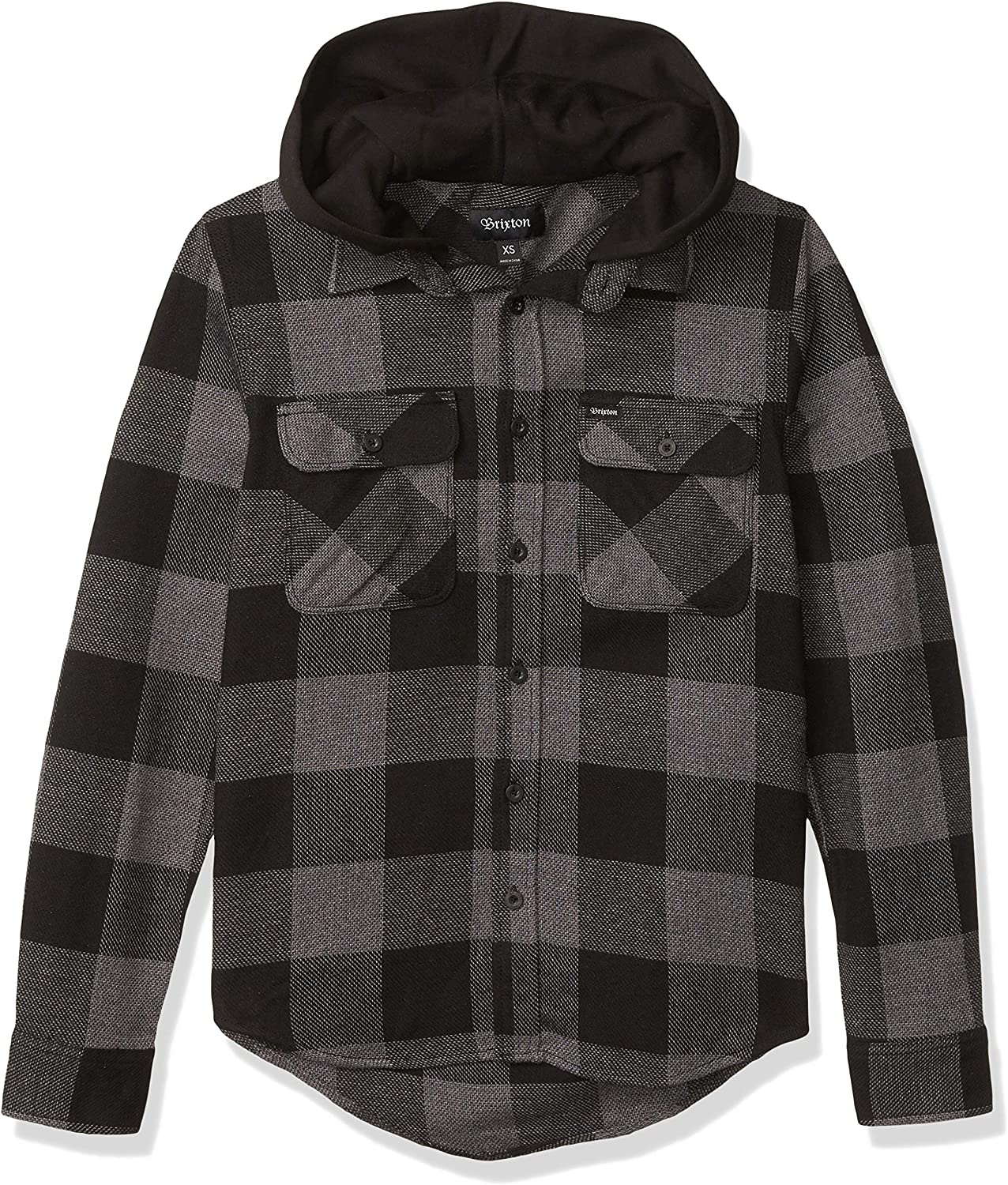 Brixton Men's Bowery Standard Fit Hooded Long Sleeve Flannel Shirt: Clothing