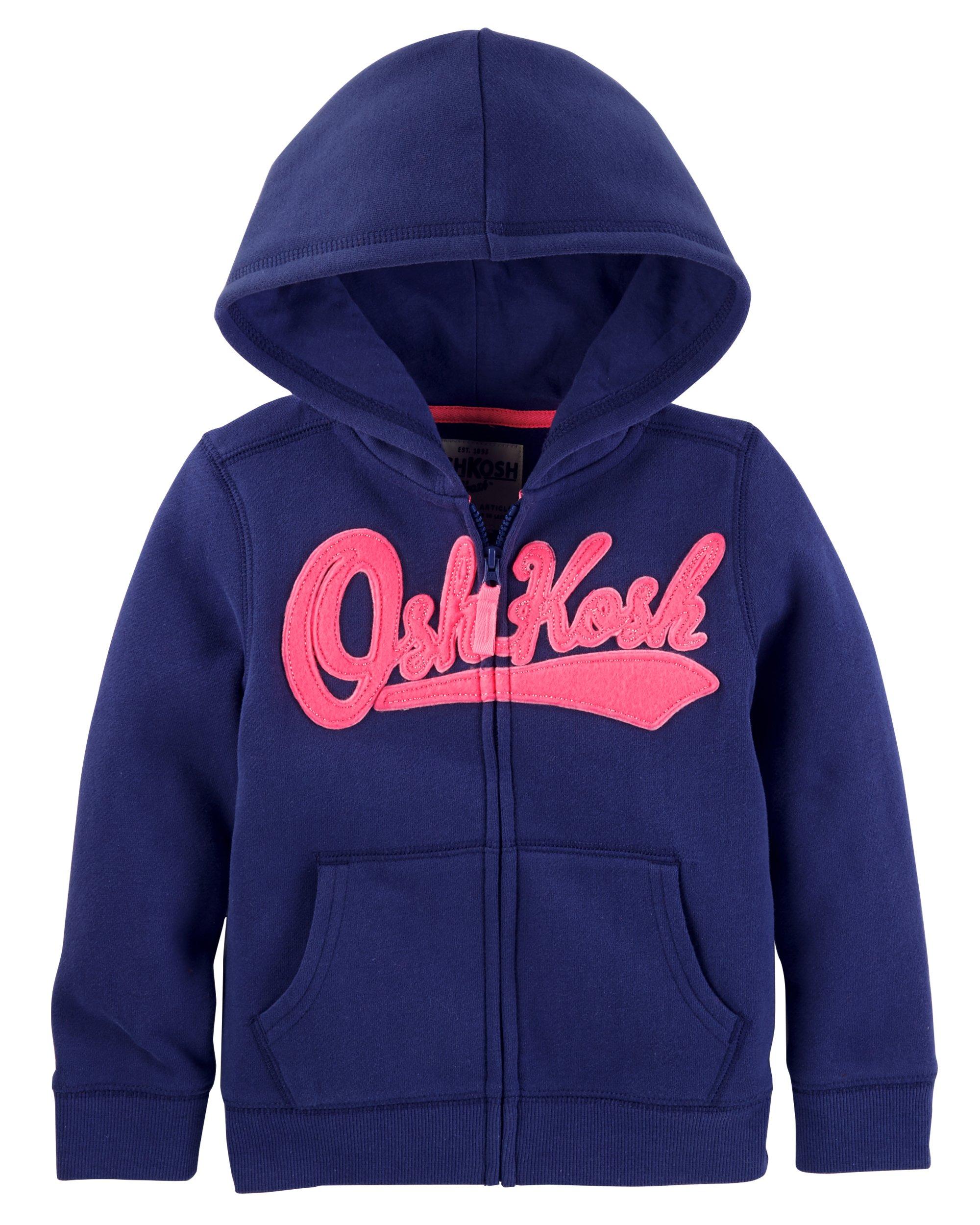 OshKosh B'Gosh Girls' Toddler Full Zip Logo Hoodie, Navy, 4T by OshKosh B'Gosh (Image #1)