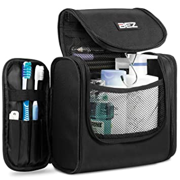 Toiletry Bag, BEZ Cosmetic Hanging Bathroom Bags, Travel Toiletries Makeup  Organiser For Men And
