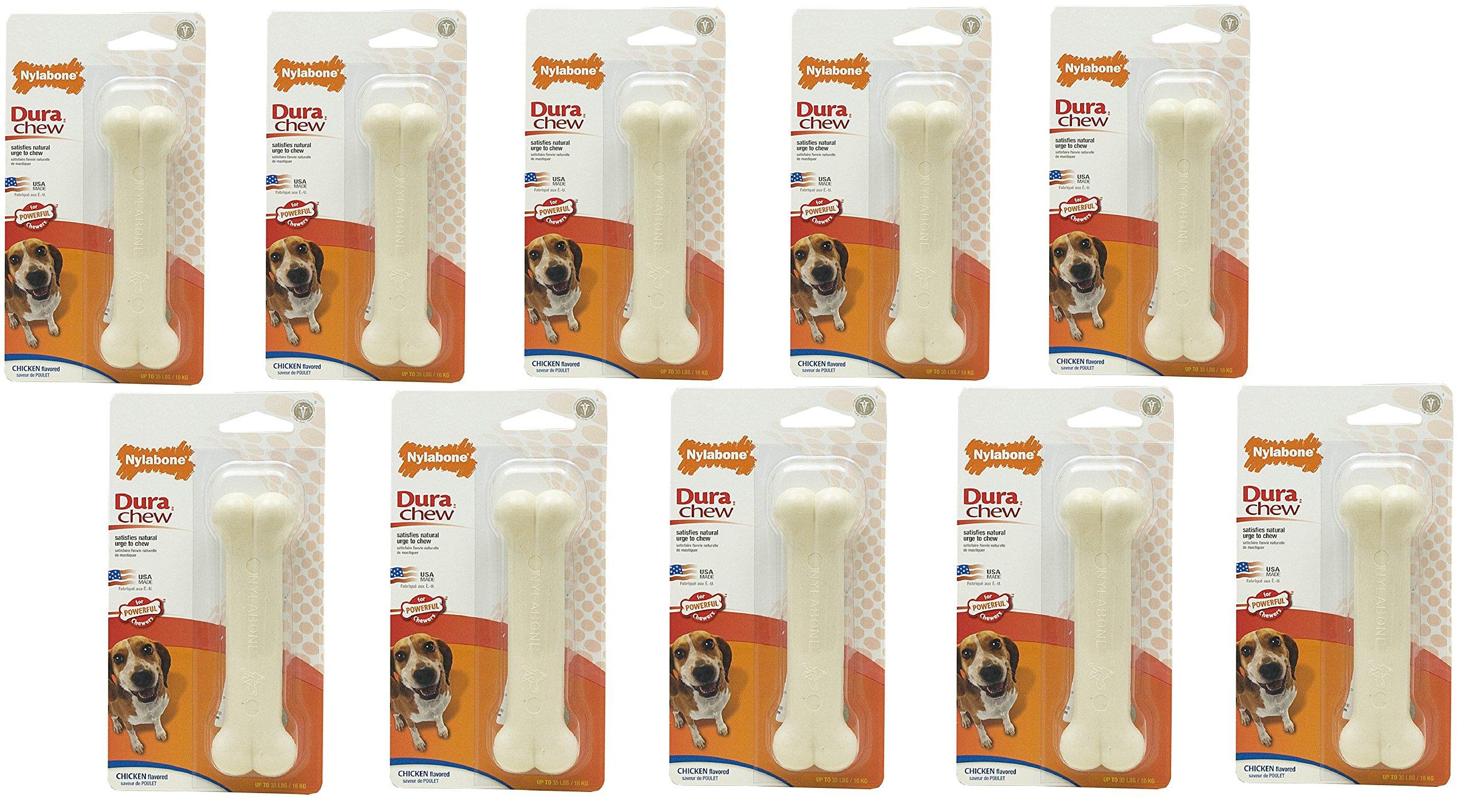 (10 Pack) Nylabone Dura Chew Wolf Chicken Flavored Bone Dog Chew Toy