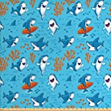 Ambesonne Shark Fabric by The Yard, Underwater Fantasy World with Funny Fish Characters Cheerful Childish Mascots, Decorative