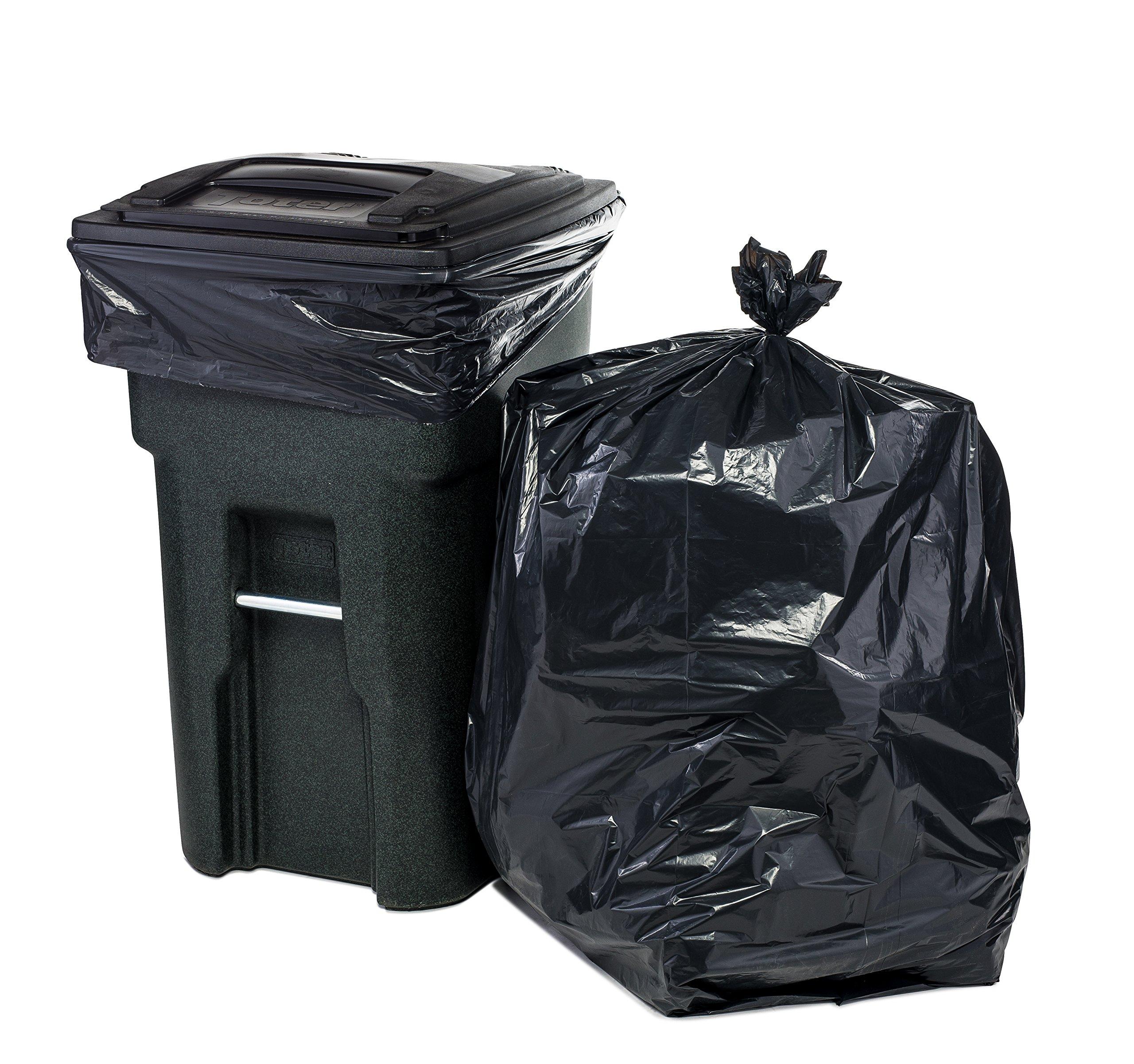 64 Gallon Trash Bags for Toter, Black, 1.5MIL, 50X60, 50 Bags Per Case