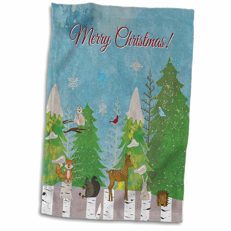 Squirrel Fox Birds Woodchuck Woodland Christmas TWL/_223584/_1 3dRose Beverly Turner Christmas Design 15x22 Hand Towel Deer Owl Bunny