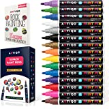 Paint pens for rock painting - Wood, Glass, Metal and Ceramic Works on almost all surfaces set of 15 Vibrant Medium tip Oil Paint Marker Pens, Quick Dry, Water Resistant